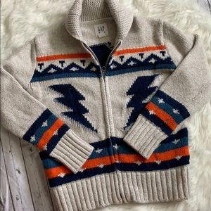 Gap Kids Zip Up Lightening Bolt Sweater